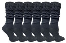 Yacht & Smith Womens Cotton Slouch Socks, Womans Knee High Boot Socks Black, 6 Pack