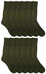 Yacht & Smith Military Grade Wick Dry Crew Socks ,heavy Duty Boot Sock, Army Green