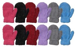 Yacht & Smith Kids Fuzzy Stretch Mittens With Glittery Shine Ages 2-7