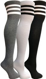 Yacht & Smith Womens Over The Knee Socks Referee Style Thigh High Knee Socks Striped Black, White And Gray