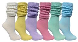 6 Pack Yacht & Smith Womens Cotton Slouch Socks, Womans Knee High Boot Socks (asst Pastel)