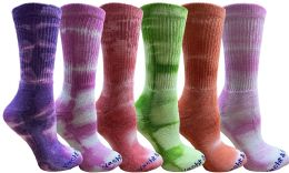 6 Pairs of Mens Tie Dye Cotton Colorful Soft Crew Socks, Desert Camo Colors Boot Sock Packs, Bulk