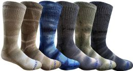 6 Pairs of Womens Tie Dye Cotton Colorful Soft Crew Socks, Bright Colorful Boot Sock, Bulk