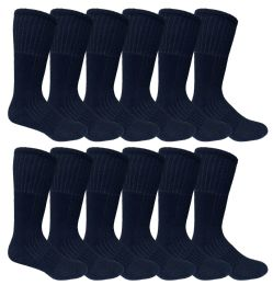 Mens Military Grade Thick Padded Terry Lined Cotton Socks, Ribbed, Dry Wicking, Heavy Duty Black Crew Sock