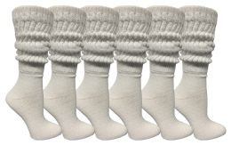 Yacht & Smith Womens Cotton Extra Heavy Slouch Socks, Boot Sock Solid White