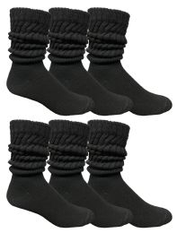 Yacht & Smith Mens Cotton Extra Heavy Slouch Socks, Boot Sock Solid Black