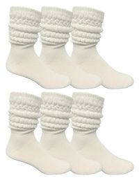 Yacht & Smith Mens Cotton Extra Heavy Slouch Socks, Boot Sock Solid White