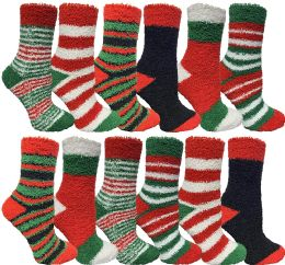 Yacht & Smith Women Fuzzy Socks Crew Socks, Warm Butter Soft (9-11) (12 Pack Assorted A)