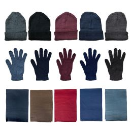 Yacht & Smith Unisex 3 Piece Winter Care Set, Assorted Beanie Hat , Assorted Magic Gloves And Assorted Fleece Scarf