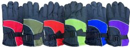 Yacht & Smith Kids Ski Glove, Fleece Lined Water Resistant Bulk Kids Winter Gloves (6 PACK ASSORTED)