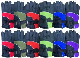 Yacht & Smith Kids Ski Glove, Fleece Lined Water Resistant Bulk Kids Winter Gloves (12 PACK ASSORTED)