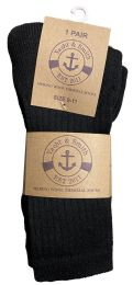 Yacht & Smith Womens Terry Line Merino Wool Thick Thermal Boot Socks, Solid Black