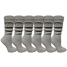 Yacht & Smith Womens Cotton Extra Heavy Slouch Socks, Boot Sock Solid Heather Gray