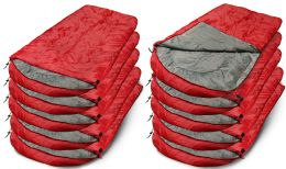Yacht & Smith Camping Lightweight Sleeping Bag 3 Season Warm & Cool Weather Red