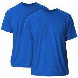 Mens Cotton Crew Neck Short Sleeve T-Shirts Solid Blue, 2XL