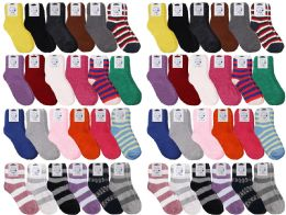 Yacht & Smith Womens Wholesale Bulk Warm And Cozy Fuzzy Socks, Colorful Winter Socks