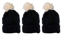 """Yacht & Smith Womens Winter Cable Knit Pom Pom Beanie Hat, 3"""" Poms, Black"""