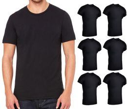 Mens Lightweight Cotton Crew Neck Short Sleeve T-Shirts Black, Size Large