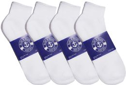 Yacht & Smith Mens Lightweight Cotton Sport White Quarter Ankle Socks, Sock Size 10-13