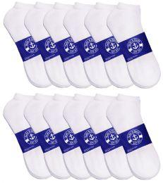 Yacht & Smith Mens White Lightweight Cotton No Show Socks, Sock Size 10-13