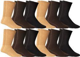 Yacht & Smith Women's Cotton Diabetic Non-Binding Crew Socks, Size 9-11 Assorted Brown, Khaki, Navy