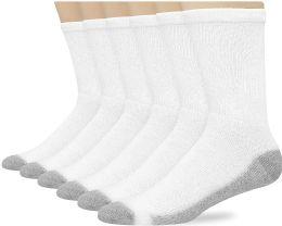 Hanes Mens White Cushioned Crew Socks, Shoe Size 12-15