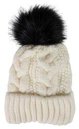"Yacht & Smith Womens Pom Pom Beanie Hat, Winter Cable Knit Hat, Warm Cap, 3"" Poms White"