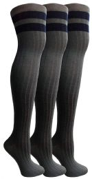 Socksnbulk Womens Over The Knee Socks, 3 Pairs Soft, Cotton Colorful Patterned (3 Pair Gray Combo)