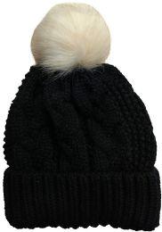 """Yacht & Smith Womens Pom Pom Beanie Hat, Winter Cable Knit Hat, Warm Cap, 3"""" Poms Black"""