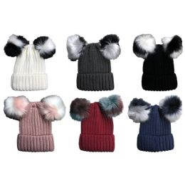 Yacht & Smith Womens 3 Inch Double Pom Pom Ribbed Beanie Hat, Assorted Colors Value Pack