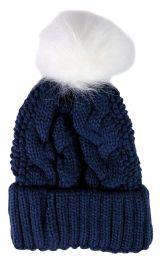 """Yacht & Smith Womens Pom Pom Beanie Hat, Winter Cable Knit Hat, Warm Cap, 3"""" Poms Navy"""