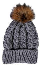 """Yacht & Smith Womens Pom Pom Beanie Hat, Winter Cable Knit Hat, Warm Cap, 3"""" Poms Gray"""