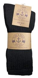 Yacht & Smith Mens Terry Line Merino Wool Thick Thermal Boot Socks, Solid Black