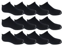 Yacht & Smith Kids 97% Cotton Light Weight No Show Ankle Socks Solid Navy Size 6-8