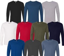 Mens Cotton Long Sleeve Tee Shirt Assorted Colors Size 2X Large