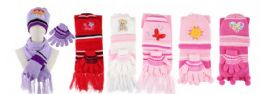 Yacht & Smith Girls 3 Piece Winter Set , Hat Glove Scarf Assorted Prints Ages 1-8