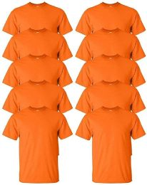 Mens Cotton Crew Neck Short Sleeve T-Shirts Bulk Pack Solid Orange, 3X Large