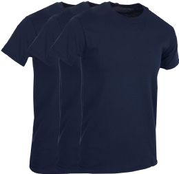 Mens Navy Blue Cotton Crew Neck T Shirt Size Medium