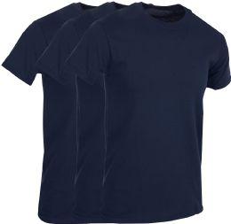 Mens Navy Blue Cotton Crew Neck T Shirt Size Large