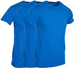 Mens Royal Blue Cotton Crew Neck T Shirt Size 3X Large