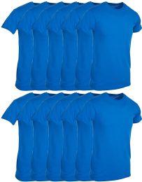 Mens Royal Blue Cotton Crew Neck T Shirt Size Large