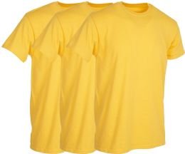 Mens Yellow Cotton Crew Neck T Shirt Size Medium