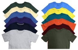 Mens Cotton Crew Neck Short Sleeve T-Shirts Mix Colors, Large