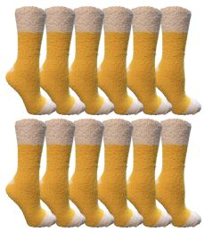Yacht & Smith Women's Fuzzy Snuggle Socks , Size 9-11 Comfort Socks Yellow With White Heel And Toe