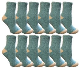 Yacht & Smith Women's Fuzzy Snuggle Socks , Size 9-11 Comfort Socks Blue With White Heel And Toe