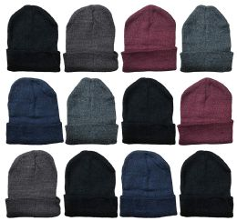 YACHT & SMITH 12 Pack Winter Beanie Hats, Thermal Stretch Unisex Cuffed Plain Skull Knit Hat Cap (Assorted Pack A)