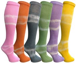 Yacht & Smith 6 Pairs Girls Tie Dye Knee High Socks, Anti Microbial, Soft Touch, Kids