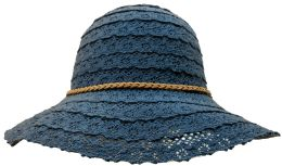 Yacht & Smith Cotton Crochet Sun Hat Soft Lace Design, Solid Navy