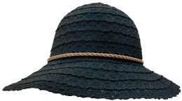 Yacht & Smith Cotton Crochet Sun Hat Soft Lace Design, Black