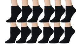 Yacht & Smith Kids Cotton Quarter Ankle Socks In Black Size 4-6